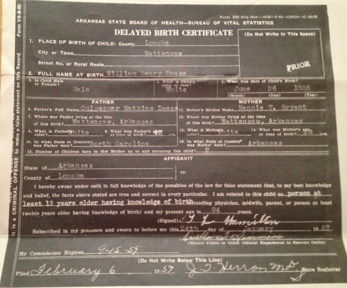 arkansas pulaski county deese death henry william certificate rock place birth